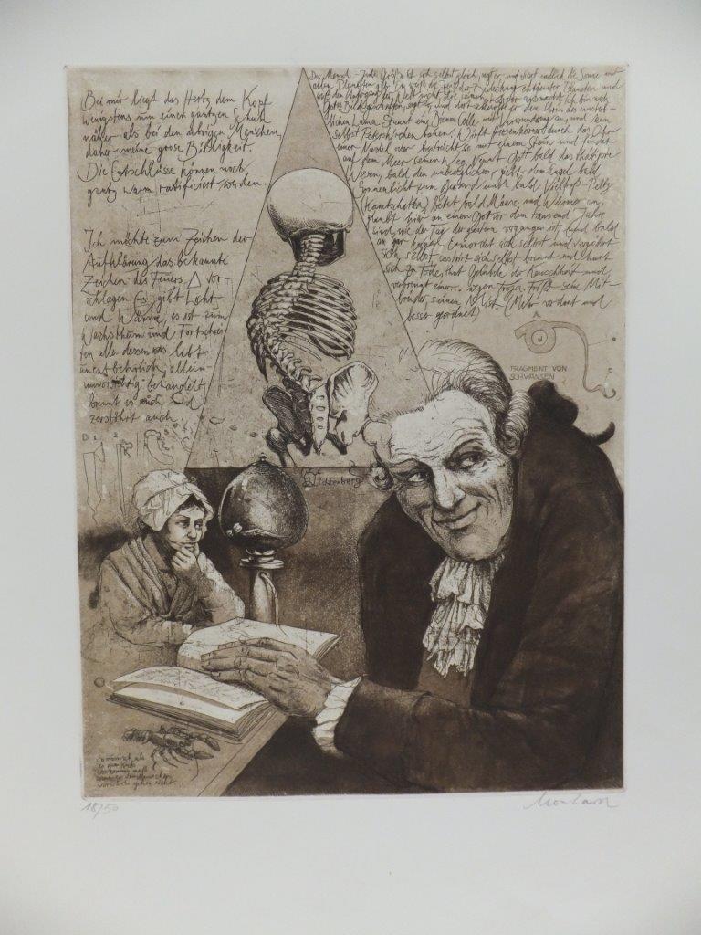 Radierung von Leo Leonhard / Biografische Kollage zu Georg Christoph Lichtenberg